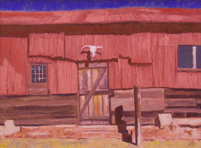"Gary Ernest Smith, Red Tin Barn, Oil on Canvas, 18"" x 24"""