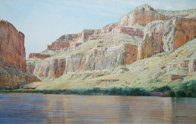 "Merrill Mahaffey, Red Wall Morning, Acrylic on Canvas, 40"" x 60"""