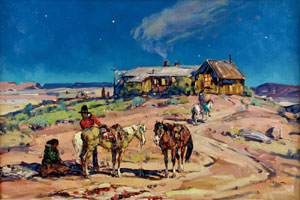 "Marjorie Reed, Moonlight Visit to Cow Springs Trading Post, Oil on Canvas, 24"" x 36"""