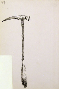 "Frederic Remington, Tomahawk from Deer Antler, Ink on Paper, 9"" x 6"""