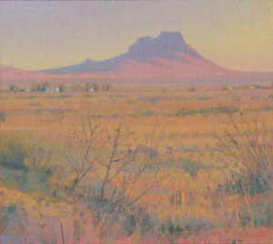 "Glenn Renell, Township Butte, Oil on Panel, 9.75"" x 11"""