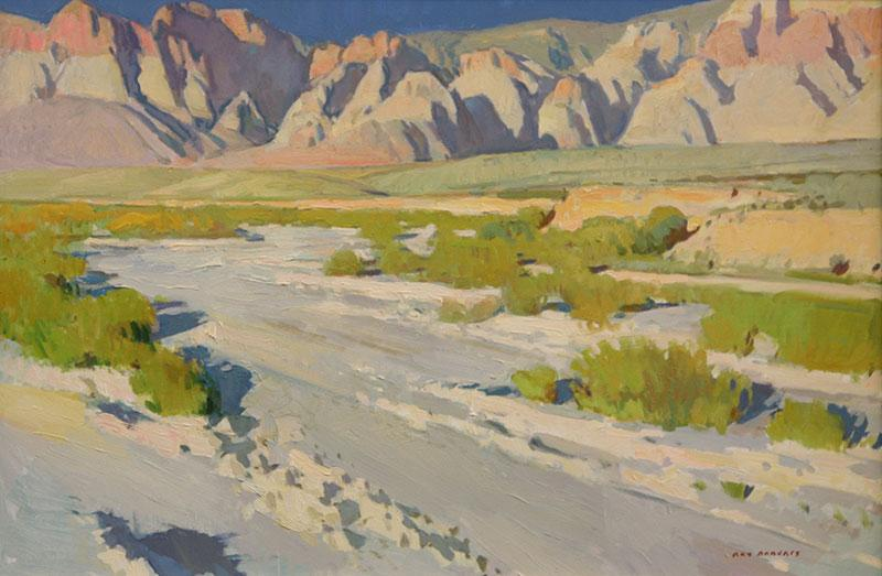 "Ray Roberts, Cliffs at Red Rock Canyon, oil on canvas, 24""x36"""