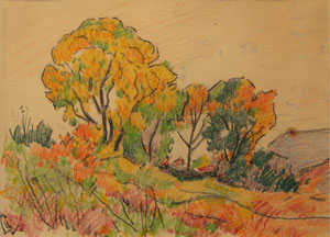 "Warren E. Rollins, Farmington, NM, Crayon on Paper, 8"" x 11"""