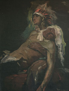 "Julius Rolshoven, The Wounded Warrior's Return, Circa 1920, Oil on Canvas, 16"" x 12"""