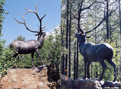 "Mark Rossi, Bull Elk, Bronze Edition of 10, 138"" x 108"" x 60"""