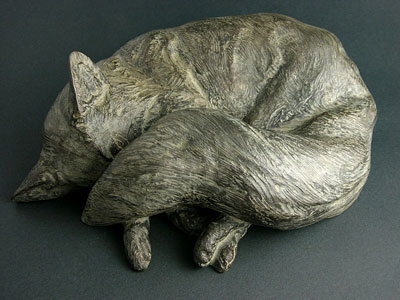 "Mark Rossi, Grey Fox Sleeping, Bronze Edition of 29, 4"" x 12"" x 9"""
