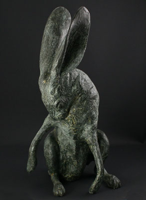 "Mark Rossi, Jackrabbit Grooming, Bronze Edition of 27, 18"" x 9"" x 9"""