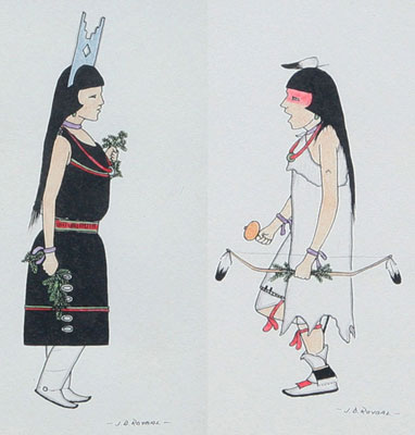 "Jose D. Roybal, Pair of drawings of Corner Dancer and Head Hunter, Pen and Ink, c. 1960, 6.75"" x 3.75"" each"