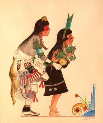 "Jose D. Roybal, Pueblo Dancers, Watercolor, 13"" x 11"""