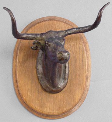 "Charles Marion Russell, Longhorn Steer 1950 Recast Bronze, 6"" x 5"" x 7"""
