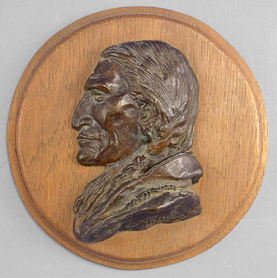 "Charles Marion Russell, Plains Indian Bust 1950 Recast Bronze, 7"" x 7"" x 2.5"""