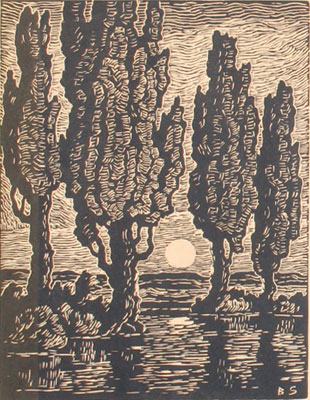 "Birger Sandzen, Poplars at Moonrise, Woodcut, 12"" x 9"""