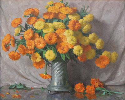 "Joseph Henry Sharp, The Marigolds, Oil on Canvas, c. 1940, 25"" x 30"""