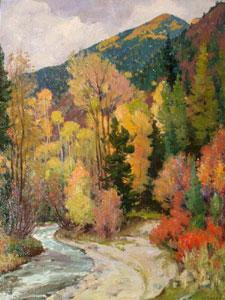 """Joseph Henry Sharp, Aspens, Near Hondo Canyon, Near Taos, Oil on Canvas, 16"""" x 20"""""""