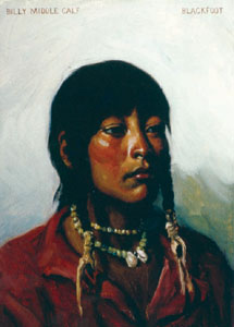 "J. H. Sharp, Blackfoot, oil, 14 x 10"", Courtesy of the Phoebe Apperson Hearst Museum of Anthropology and the Regents of the University of California"