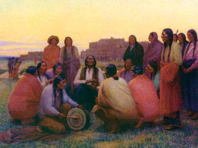 "J. H. Sharp, Evening Chant, oil, 29 x 36"" PHOTO COURTESY PHOEBE APPERSON HEARST MUSEUM OF ANTHROPOLOGY AT THE UNIVERSITY OF CALIFORNIA"