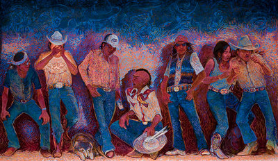 "Shonto Begay, Saturday Night Taunt Three, Acrylic on Canvas, 48"" x 76"""