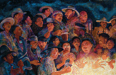 "Shonto Begay, Second Night Glow, Acrylic on Canvas, 52"" x 82"""