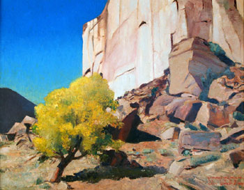 "Gary Ernest Smith, Stone Wall with Cottonwoods, Oil on Canvas, 24"" x 30"""