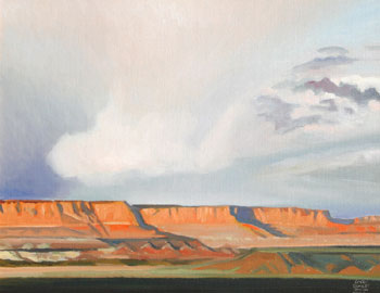 "Gary Ernest Smith, Storm Clouds over Mesas, Oil on Canvas, 16"" x 20"""
