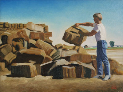 "Gary Ernest Smith, Sorting Old Bales, Oil on Canvas, 18"" x 24"""