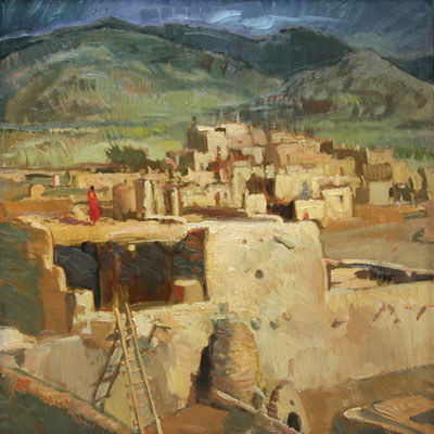 Francis Livingston, Storm Watcher, oil on panel, 18 x 18