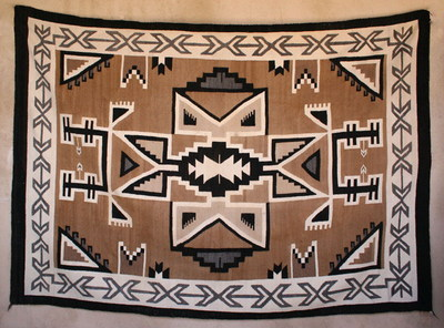 "Navajo Two Grey Hills Rug by Mattie Nakii Tsosi, circa 1940, 93.5"" x 65.5"""