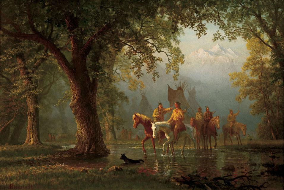 "Albert Bierstadt, Departure of an Indian War Party, oil on board, 17-1/4""x 24-1/4"""