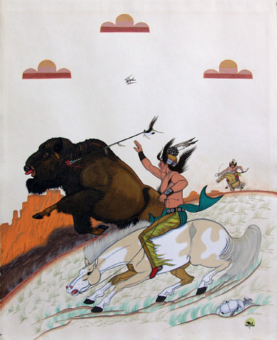 "Quincy Tahoma, His Last Run, Casein on Paper, c. 1946,  29"" x 23"""