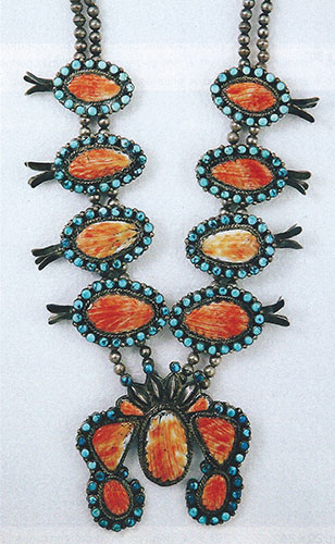 "Dan Simplico, Zuni squash blossom necklace with silver, turquoise and Spiny Oyster, ca. 1940, 24"" long, naja is 3.5""x3.5"""