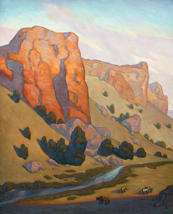 "Howard Post, Three Buttes, Oil on Canvas, 50"" x 40"""