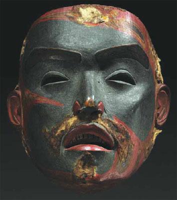 "Tsimshian Face Mask, polychromed wood, 7.75"" x 7"" x 4.75"" Courtesy Sotheby's, New York, NY"
