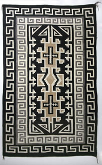 "Navajo Two Grey Hills textile, Two Grey Hills Trading Post, c. 1930, 75"" x 47"""