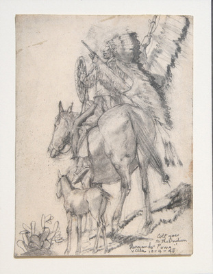 "Hernando Villa, Colt Goes Down to the Indian 'Pawa', Graphite on Paper, 1945, 6.5"" x 5"""
