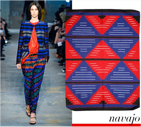 Proenza Schouler Navajo Chiefs blanket revival, $1,125 navajorugsblankets.com   Photo: Marcio Madeira/FirstView; Courtesy of Navajo Rugs & Blankets