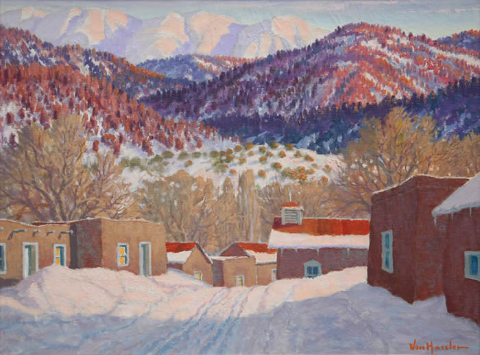 "Carl von Hassler, Left: Sundown in Winter, March 27, 1939 Oil on Canvas 18"" x 24"", Foothills Sangre De Christo Range New Mexico. Right: Aspens, c. 1932, Tempra on Board, 16"" x 20"""