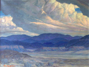 "Carl von Hassler, Left: Looking Towards Jemez, Oil on Canvas, 27"" x 36"" Right: Fast Moving Clouds, c. 1937, Oil on Canvas, 26"" x 34"""