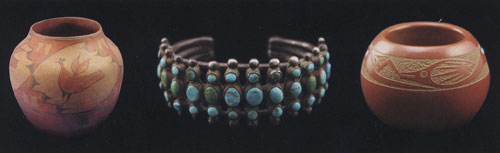 Zia Pot, Navajo Turquoise and Silver Bracelet, Tony Da Incised Red Avanyu San Ildefonso Pot with Turquoise
