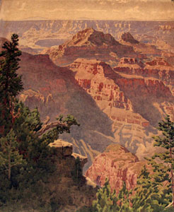 "Gunnar Widforss, Grand Canyon Landscape, Watercolor, 24"" x 19"""