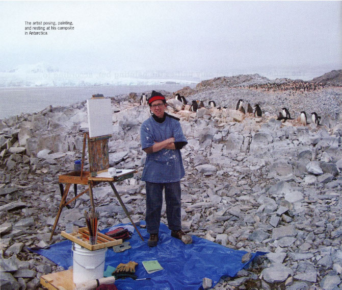 Jamesi Woodside posing, paintng, and resting at his campsite in Antarctica
