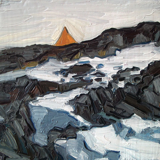 "James Woodside, Tent at Old Palmer (From Shore), Oil on Panel, 8"" x 8""  Collection Dr. Kristin Van Konynenburg"