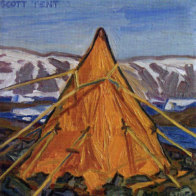 "James Woodside, Scott Tent, Oil on Panel, 8"" x 8"" Collection Robert J. Hrebek"