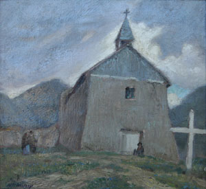 "Wood Woolsey, Adobe Church, Oil on Canvas, 14"" x 14"""