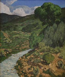 "Carl E. Woolsey, Mountain Stream, Oil on Canvas, c. 1920, 25"" x 21"""