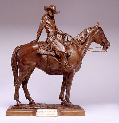 "Deborah Copenhaver-Fellows, NSS, Youth was in the Saddle There with Half a World to Ride, Bronze Edition of 35, 30"" x 33"" x 8"""