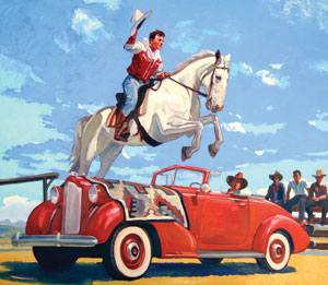 "Dennis Ziemienski, Flying Buckaroo, Oil on Canvas, p42"" x 48"""