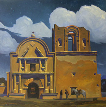 "Dennis Ziemienski, Moonlight over Tumacacori, Oil on Canvas, 36"" x 36"""