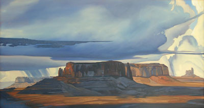 "Dennis Ziemienski, Cloudburst Amid the Monuments, Oil on Canvas, 32"" x 60"""