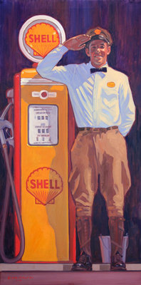 "Dennis Ziemienski, Fill'er Up? Oil on Canvas, 48"" x 24"""