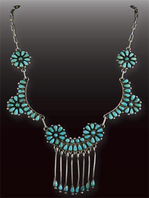 Zuni Petit Point Turquoise Necklace, c. 1940